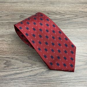 Jos A Bank Red w/ Navy Check Twill Tie